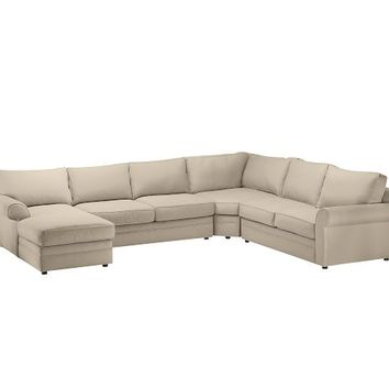 Pearce Upholstered 4-Piece Chaise Sectional with Wedge