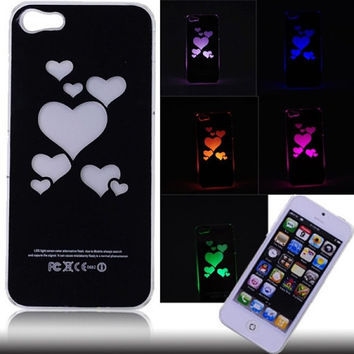 Hearts Style Flasher LED Color Changed Protector Case for iPhone 5 (Flash While Calling or Called)