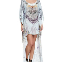 Camilla Scoop-Neck Printed and Beaded Kaftan/Coverup