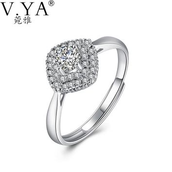 V.YA Solid 925 Sterling Silver Rings For Women Wedding Engagement Simple Geometry Finger Ring With Bling Crystal