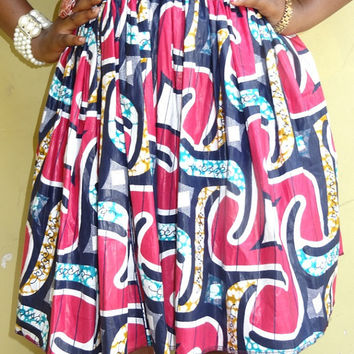 African print skirt with pink color -  Wax print skirt with elastic band