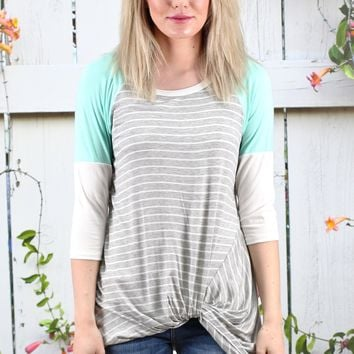 Twisted Stripe + Color Block Raglan Sleeves Top {Mint}