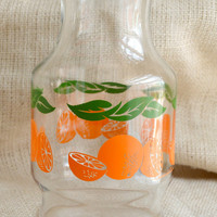 Breakfact pitcher // vintage Anchor Hocking Glass Orange Juice Pitcher//  1 quart jug