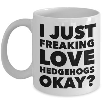 I Just Freaking Love Hedgehogs Okay Mug Funny Ceramic Coffee Cup Gift