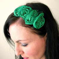 Green Chiffon Flower Headband, Emerald rolled chiffon flower hairband, Holiday boho chic headband