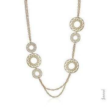 Khai Vintage Filigree Circles Goldtone Necklace