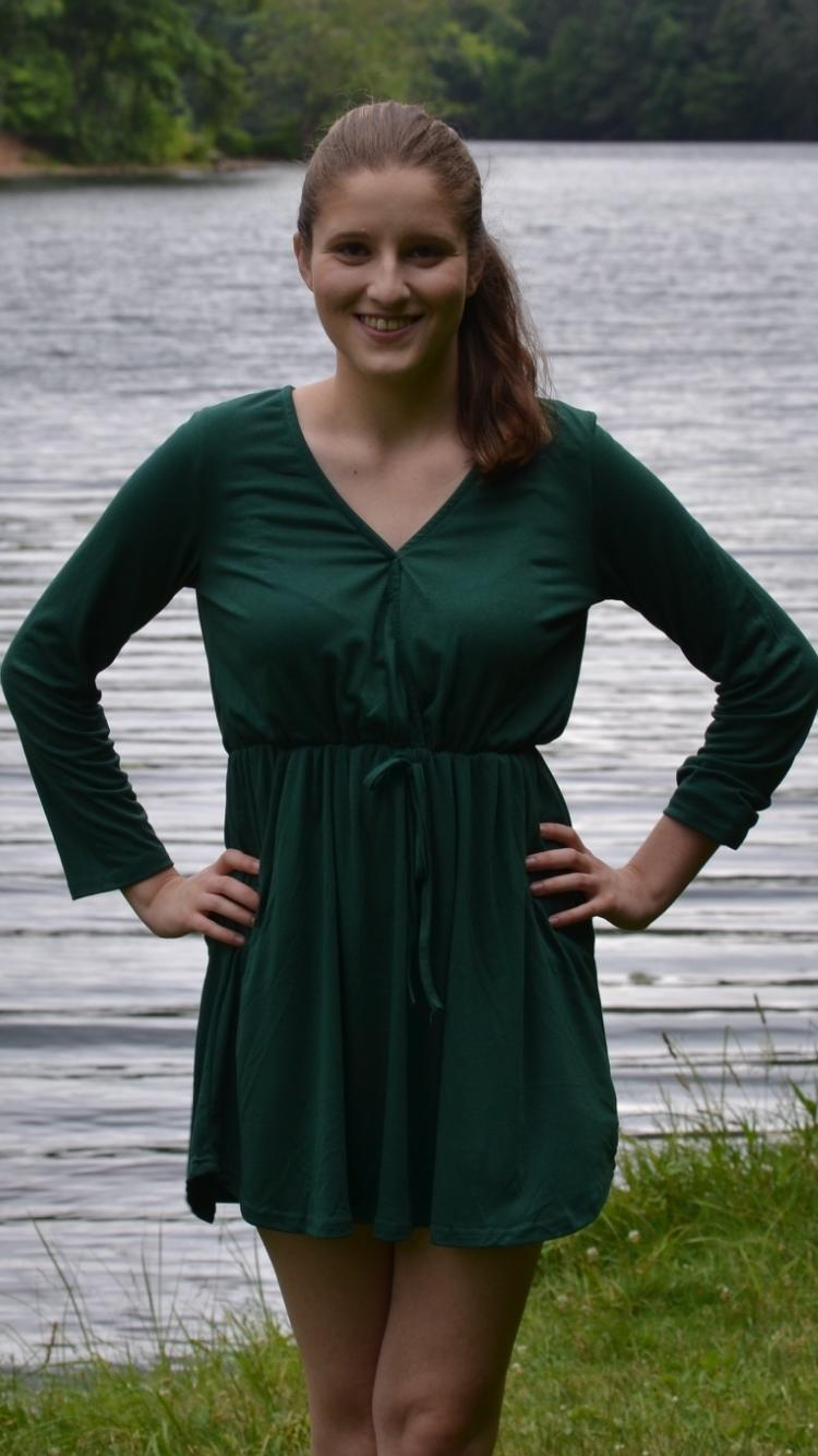 Green V Neck Drawstring Dress With Pocket From Love143 Epic
